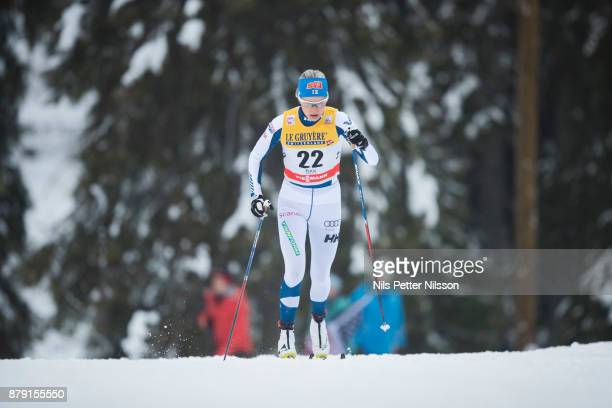AnneKylloenen of Finlandduring the ladies cross country 10K classic competition at FIS World Cup Ruka Nordic season opening at Ruka Stadium on...
