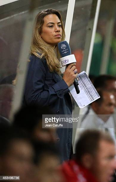 AnneLaure Bonnet comments for beIN Sports the French Ligue 1 match between Stade de Reims and Paris Saint Germain FC at the Stade Auguste Delaune on...
