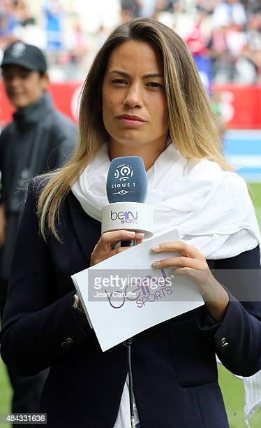 AnneLaure Bonnet comments for BeIN Sports the French Ligue 1 match between Stade de Reims and Olympique de Marseille at Stade Auguste Delaune on...