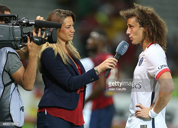 AnneLaure Bonnet interviews David Luiz of PSG after the French Ligue 1 match between Lille OSC and Paris SaintGermain at Grand Stade Pierre Mauroy on...