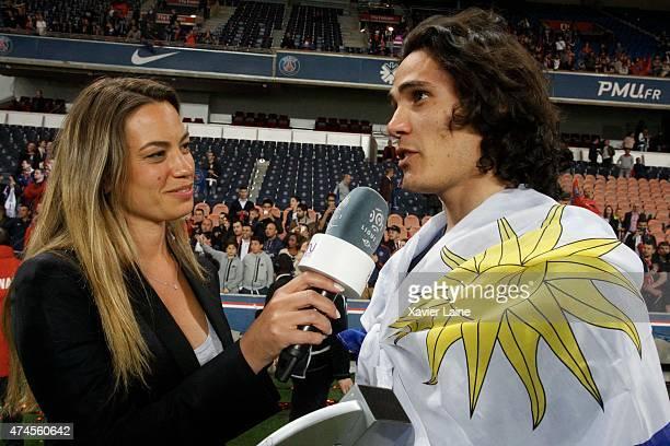 AnneLaure Bonnet interviews Edinson Cavani of Paris SaintGermain after the French Ligue 1 game between Paris SaintGermain FC and Stade de Reims at...