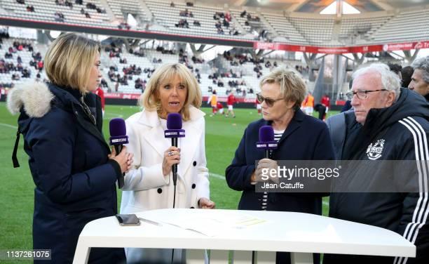 AnneLaure Bonnet of beIN Sport France's First Lady Brigitte Macron Muriel Robin journalist and founder of Varietes Club de France Jacques Vendroux...