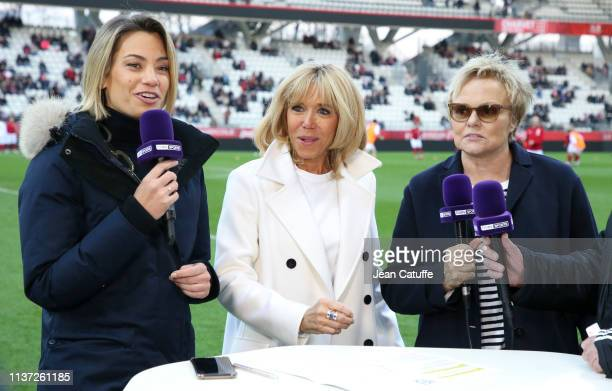 AnneLaure Bonnet of beIN Sport France's First Lady Brigitte Macron Muriel Robin during a charity match benefitting 'Fondation des Femmes' and 'Relais...