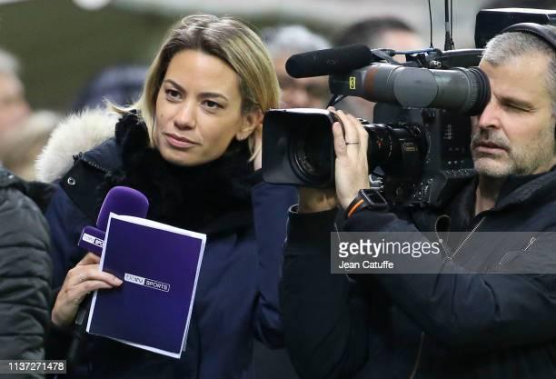 AnneLaure Bonnet of beIN Sports during a charity match benefitting 'Fondation des Femmes' and 'Relais 51' between former players of Stade de Reims...