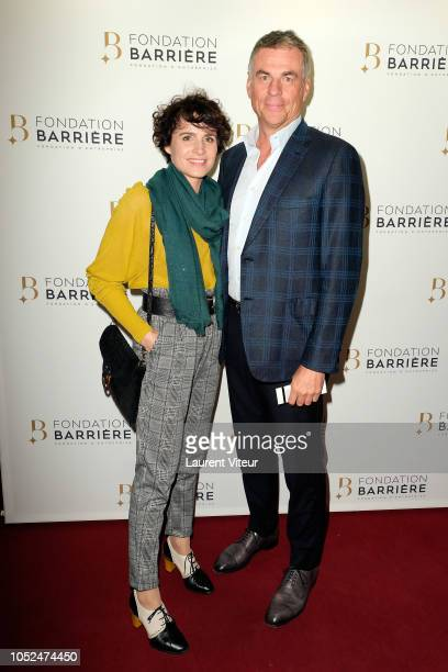 AnneLaure Gruet and Bruno Gaccio attend 'Skorpios au Loin' Theater Play Prize 2018 of Fondation Barriere at Theatre Bouffes Parisiens on October 18...