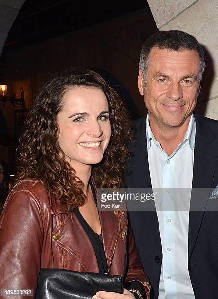 AnneLaure Gruet and her companion Bruno Gaccio attend the 'FIFA 16 Live Event' at the Faust Club on September 21 2015 in Paris France