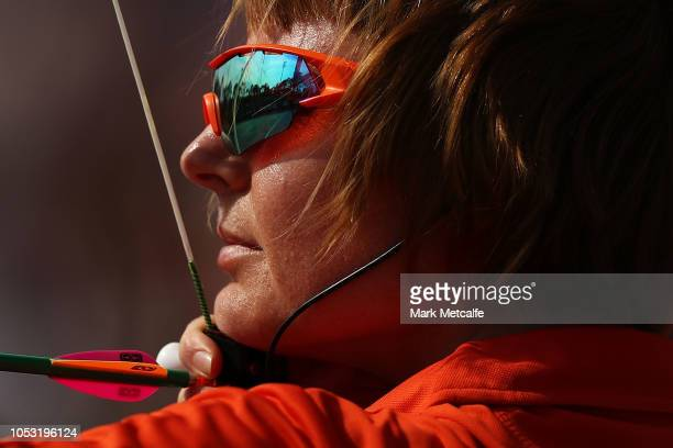 Annelies Homma of Netherlands competes in the WomenÕs Novice Recurve Quarter Final during day six of the Invictus Games Sydney 2018 at the Hockey...