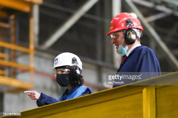Anneliese Dodds , Shadow Chancellor of the Exchequer and Dr Paul Williams , Labour Party candidate for Hartlepool visit the Liberty Steel pipe mill...