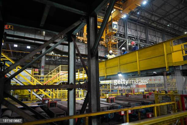 Anneliese Dodds, Shadow Chancellor of the Exchequer and Dr Paul Williams, Labour Party candidate for Hartlepool visit the Liberty Steel pipe mill in...