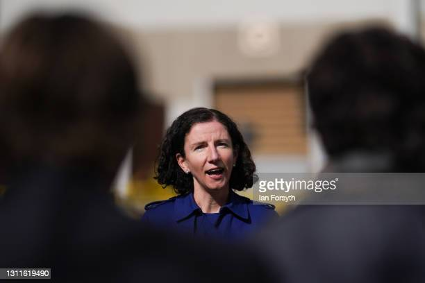 Anneliese Dodds, Shadow Chancellor of the Exchequer speaks to broadcast media during a visit to the Liberty Steel pipe mill in Hartlepool on April...