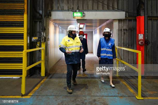 Anneliese Dodds , Shadow Chancellor of the Exchequer visits the Liberty Steel pipe mill in Hartlepool on April 09, 2021 in Hartlepool, England. The...