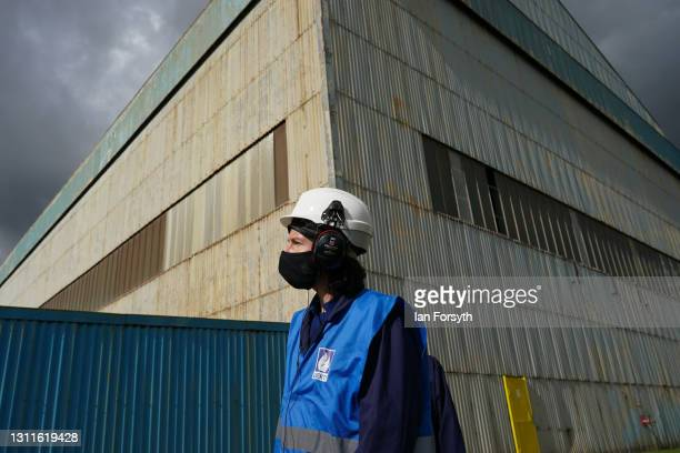 Anneliese Dodds, Shadow Chancellor of the Exchequer visits the Liberty Steel pipe mill in Hartlepool on April 09, 2021 in Hartlepool, England. The...