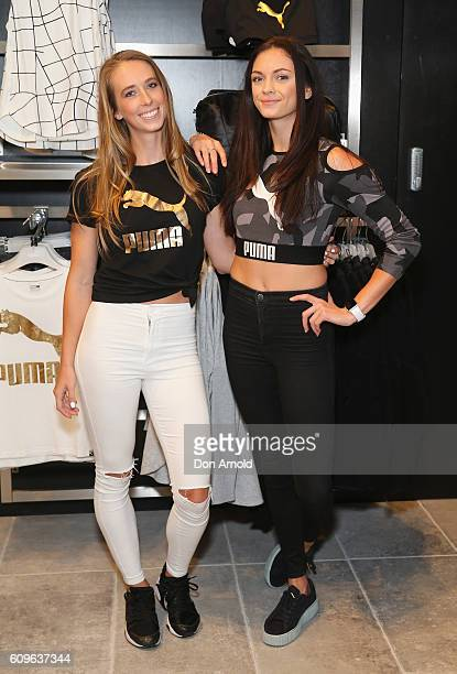 Anneliese Rubie and Ella Nelson pose during the Puma Flagship store launch at Westfield Chatswood on September 22 2016 in Sydney Australia