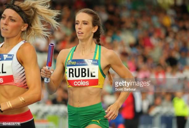 Anneliese Rubie of Australia competes in the Mixed 2000 Sprint Medley race during the Melbourne Nitro Athletics Series at Lakeside Stadium on...