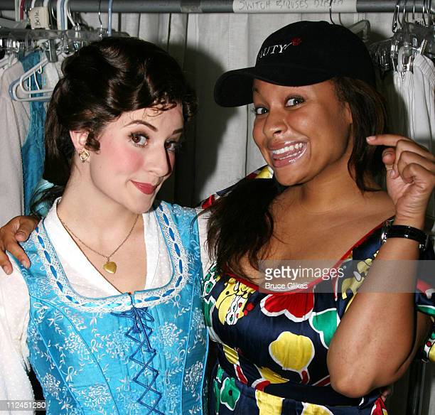 Anneliese van der Pol as 'Belle' and RavenSymone during RavenSymone's visit to the set of 'Beauty and the Beast' on Broadway at the Lunt Fontanne...