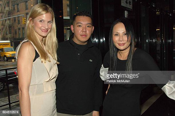 Annelise Peterson Jim Shi and Eva Chow attend MR CHOW TRIBECA Opens for Lunch at Mr Chow Tribeca on November 8 2006 in New York City