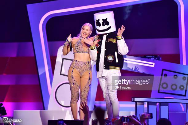 AnneMarie and Marshmello perform at the 2018 iHeartRADIO MuchMusic Video Awards at MuchMusic HQ on August 26 2018 in Toronto Canada