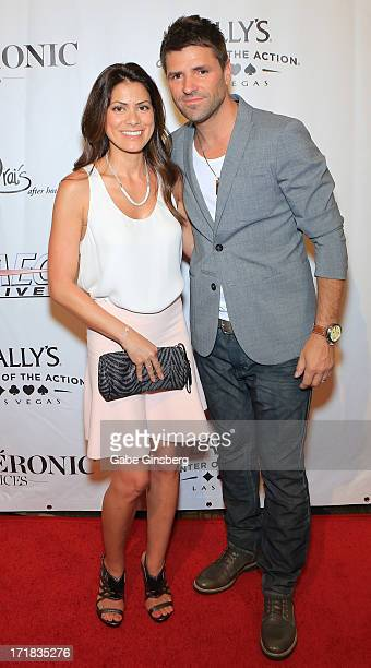 AnneMarie Angelil and musician Marc Dupre arrive at the premiere of the show 'Veronic Voices' at Bally's Las Vegas on June 28 2013 in Las Vegas Nevada