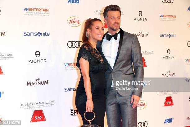 Annemarie Carpendale pregnant and her husband Wayne Carpendaleduring the German Film Ball 2018 at Hotel Bayerischer Hof on January 20 2018 in Munich...