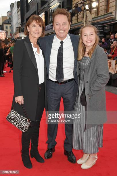 """Anne-Marie Conley, Brian Conley and daughter attend the World Premiere of """"Goodbye Christopher Robin"""" at Odeon Leicester Square on September 20, 2017..."""