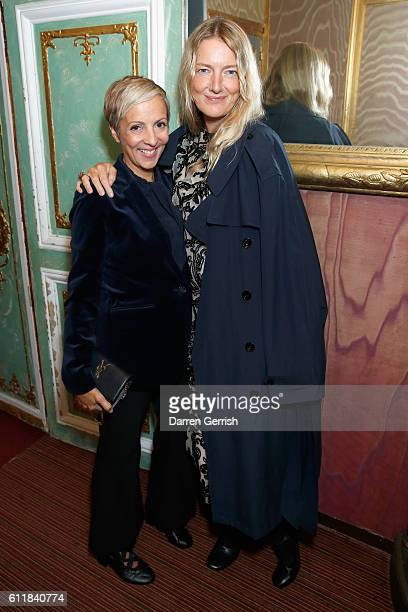 AnneMarie Curtis and Rebecca Lowthorpe attend the MATCHESFASHIONCOM x Simone Rocha dinner at Restaurant Laperouse on October 1 2016 in Paris France