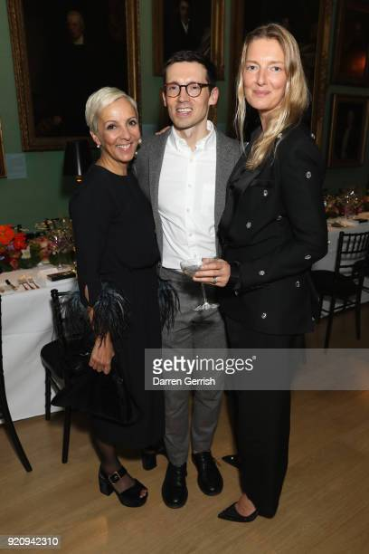 AnneMarie Curtis Erdem Moralioglu and Rebecca Lowthorpe attend the ERDEM X NARS launch dinner at the National Portrait Gallery on February 19 2018 in...