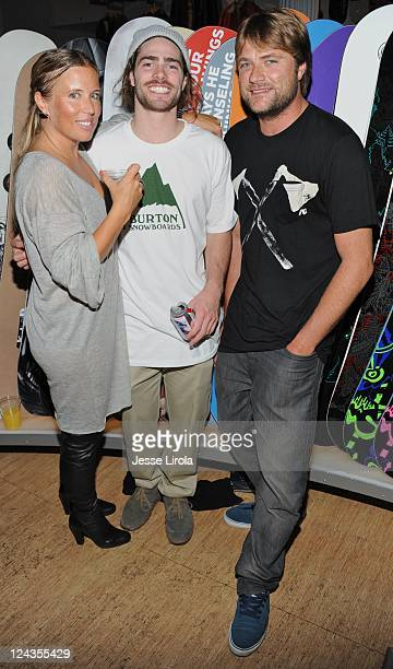 AnneMarie Dacyshyn Danny Davis and Benji Weatherly attend Burton Snowboards Fashion's Night Out celebration on September 8 2011 in New York City