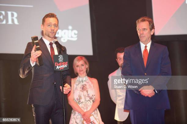 AnneMarie Duff and Daniel Mays present the award for Best TV Series to Tom Hiddleston and Hugh Laurie for The Night Manager during the THREE Empire...