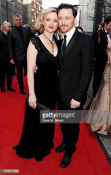 AnneMarie Duff and James McAvoy arrive at the 2012 Olivier Awards held at The Royal Opera House on April 15 2012 in London England