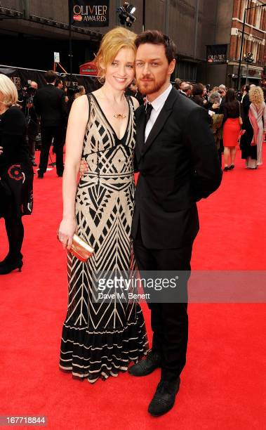 AnneMarie Duff and James McAvoy arrive at The Laurence Olivier Awards 2013 at The Royal Opera House on April 28 2013 in London England