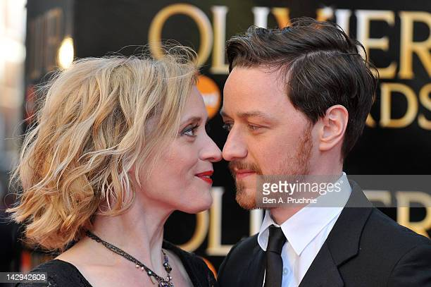 AnneMarie Duff and James McAvoy arrives at the Olivier Awards 2012 at The Royal Opera House on April 15 2012 in London England