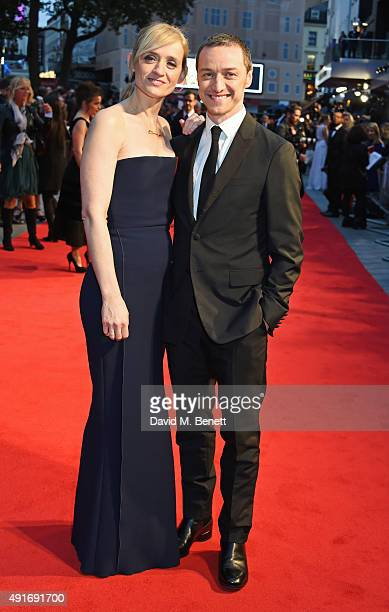 AnneMarie Duff and James McAvoy attend a screening of Suffragette on the opening night of the BFI London Film Festival at Odeon Leicester Square on...
