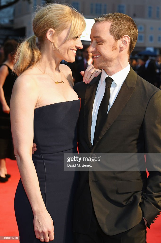 Anne-Marie Duff (L) and James McAvoy attend a screening of 'Suffragette' on the opening night of the BFI London Film Festival at Odeon Leicester Square on October 7, 2015 in London, England.