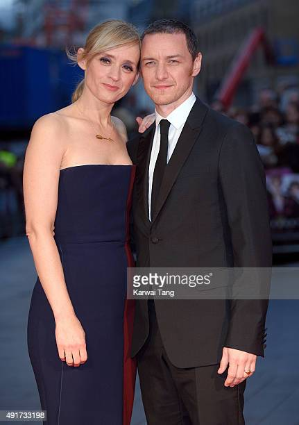 AnneMarie Duff and James McAvoy attend a screening of 'Suffragette' on the opening night of the BFI London Film Festival at Odeon Leicester Square on...