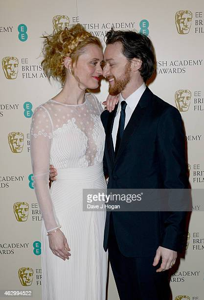 AnneMarie Duff and James McAvoy attend the EE British Academy Film Awards at The Royal Opera House on February 8 2015 in London England