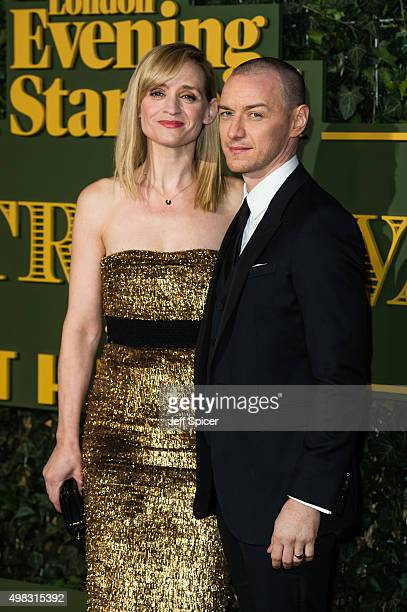 AnneMarie Duff and James McAvoy attend the Evening Standard Theatre Awards at The Old Vic Theatre on November 22 2015 in London England