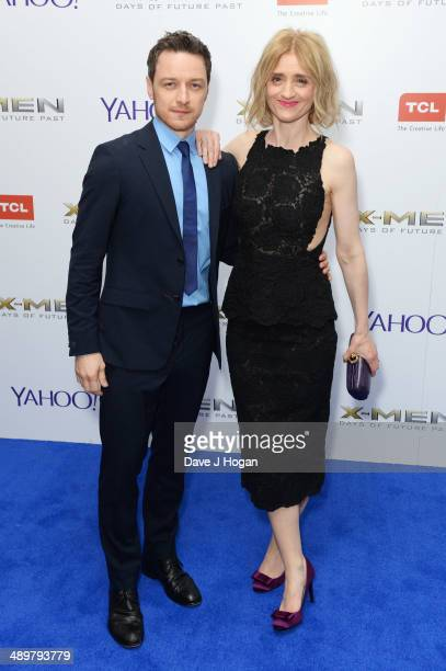 AnneMarie Duff and James McAvoy attend the UK premiere of 'XMen Days Of Future Past' at the Odeon Leicester Square on May 12 2014 in London England