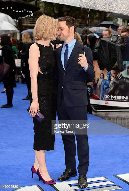 AnneMarie Duff and James McAvoy attend the UK Premiere of 'XMen Days of Future Past' held at the Odeon Leicester Square on May 12 2014 in London...