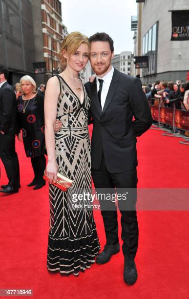 AnneMarie Duff and James McAvoy attends The Laurence Olivier Awards at The Royal Opera House on April 28 2013 in London England