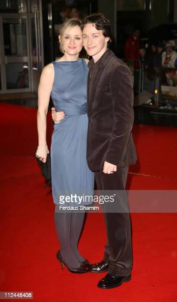 AnneMarie Duff and James McAvoy during Becoming Jane London Premiere Arrivals at Odeon West End in London Great Britain