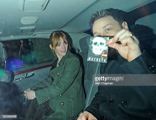 AnneMarie Duff and James McAvoy sighting at Macbeth press night Trafalgar Studios on February 22 2013 in London England