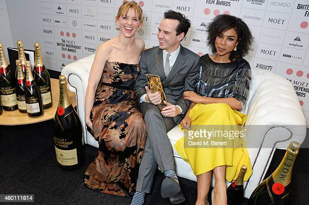 AnneMarie Duff Andrew Scott winner of the Best Supporting Actor award for 'Pride' and Sophie Okonedo pose at The Moet British Independent Film Awards...