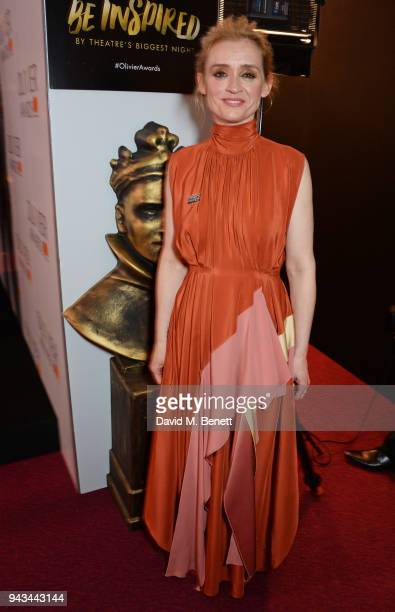 AnneMarie Duff poses in the press room during The Olivier Awards with Mastercard at Royal Albert Hall on April 8 2018 in London England
