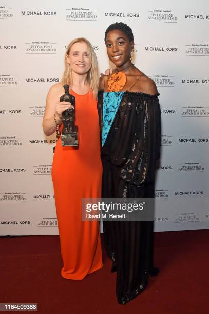 AnneMarie Duff winner of Best Musical Performance for 'Sweet Charity' presented by Lashana Lynch pose in the winners room at the 65th Evening...