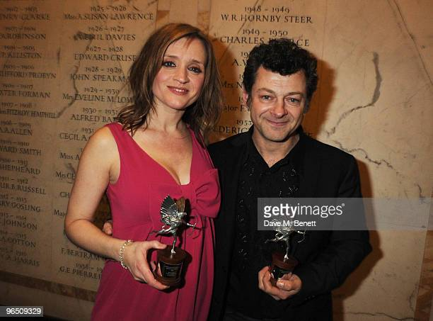 AnneMarie Duff with her Best Actress Award and Andy Serkis with his Best Actor Award attend the London Evening Standard British Film Awards 2010 at...