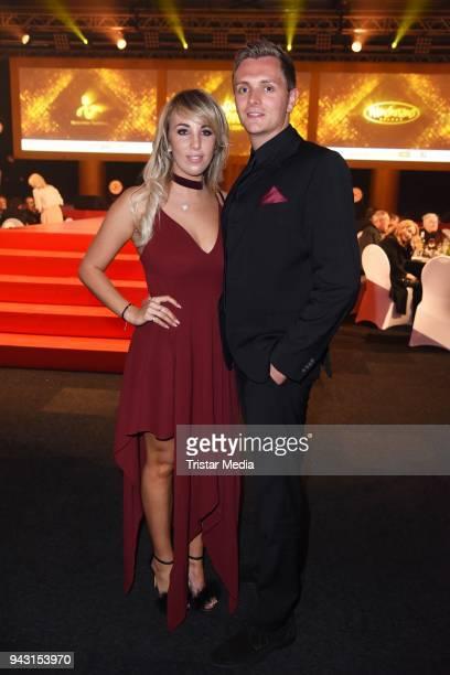 Annemarie Eilfeld and her boyfriend Tim attend the 'Goldene Sonne 2018' Award by SonnenklarTV on April 7 2018 in Kalkar Germany
