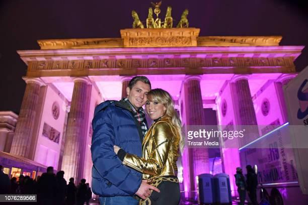 Annemarie Eilfeld and her boyfriend Tim Sandt during the ZDF TV Show 'Willkommen 2019' New Years Eve Party at Brandenburg Gate on December 31 2018 in...