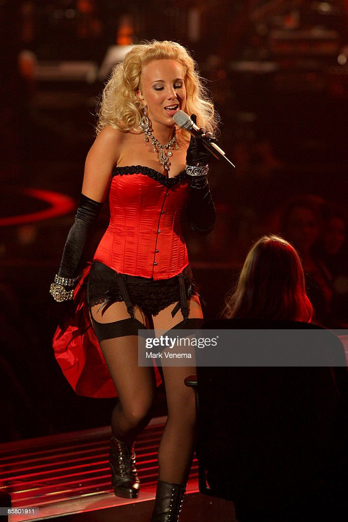 Annemarie Eilfeld performs a song during the rehearsal for the singer qualifying contest DSDS 'Deutschland sucht den Superstar' 4th motto show on April 4, 2009 in Cologne, Germany.