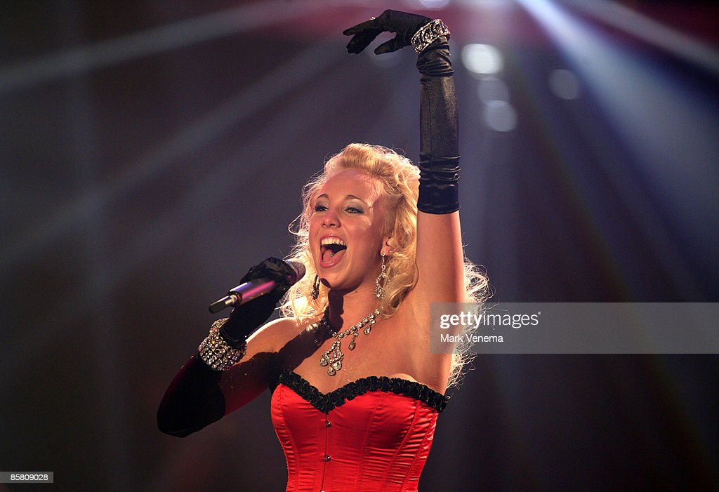 Annemarie Eilfeld performs a song during the rehearsel for the singer qualifying contest DSDS 'Deutschland sucht den Superstar' 4th motto show on April 4, 2009 in Cologne, Germany.