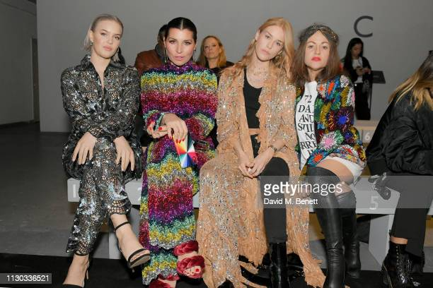 AnneMarie Grace Woodward Lady Mary Charteris and Jaime Winstone attend the Ashish show during London Fashion Week February 2019 at Ambika P3 on...
